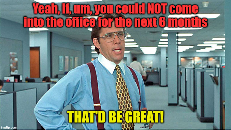 Yeah, if, um, you could NOT come into the office for the next 6 months; THAT'D BE GREAT! | image tagged in office space,corona virus,stay home | made w/ Imgflip meme maker