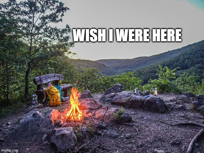 WISH I WERE HERE | image tagged in i wish,campfire,peaceful | made w/ Imgflip meme maker