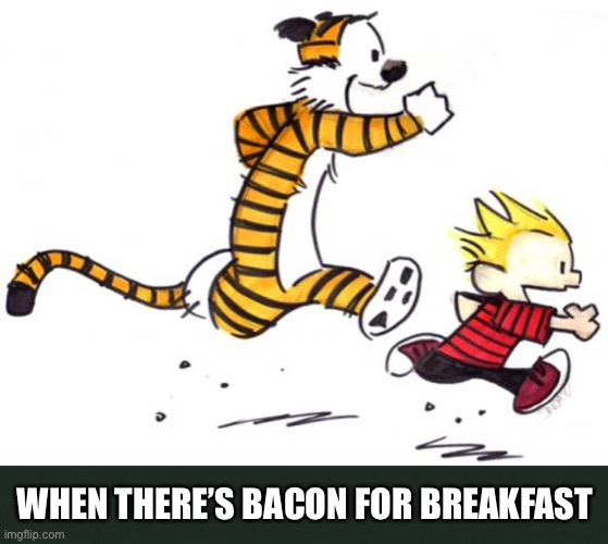 Every Time |  WHEN THERE'S BACON FOR BREAKFAST | image tagged in bacon,calvin and hobbes,breakfast,happiness | made w/ Imgflip meme maker