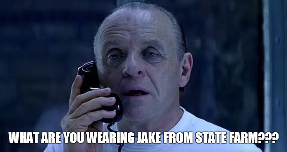 hannibal lector |  WHAT ARE YOU WEARING JAKE FROM STATE FARM??? | image tagged in funny,funny memes,funny meme,lol so funny,bad pun,too funny | made w/ Imgflip meme maker