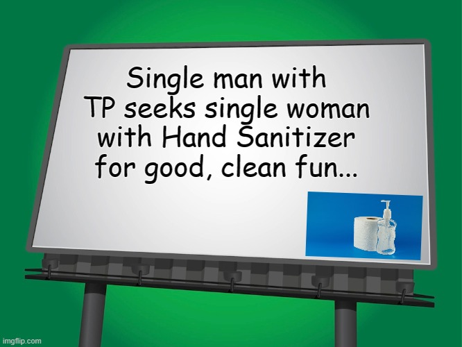 Personal Ad... |  Single man with TP seeks single woman with Hand Sanitizer for good, clean fun... | image tagged in single,man,woman,tp,hand sanitizer,fun | made w/ Imgflip meme maker
