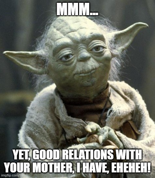 MMM... YET, GOOD RELATIONS WITH YOUR MOTHER, I HAVE, EHEHEH! | image tagged in yoda | made w/ Imgflip meme maker