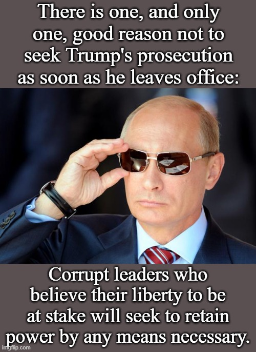 Putin is trying to become President for Life because he fears the consequences of giving up power. Trump may seek to do the same | There is one, and only one, good reason not to seek Trump's prosecution as soon as he leaves office: Corrupt leaders who believe their liber | image tagged in putin with sunglasses,trump,criminal,democracy,corruption,dictator | made w/ Imgflip meme maker