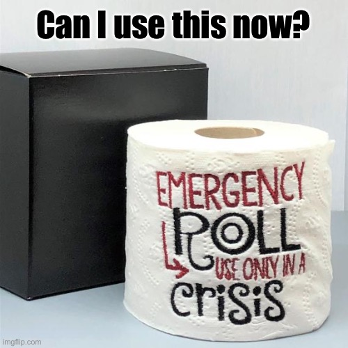 Can I use this now? | image tagged in emergency roll,emergency,toilet paper,toilet paper shortage,emergency toilet paper,covid-19 | made w/ Imgflip meme maker