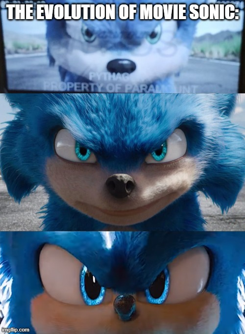The bottom image is the only design that is not disgusting |  THE EVOLUTION OF MOVIE SONIC: | image tagged in sonic the hedgehog,sonic movie | made w/ Imgflip meme maker