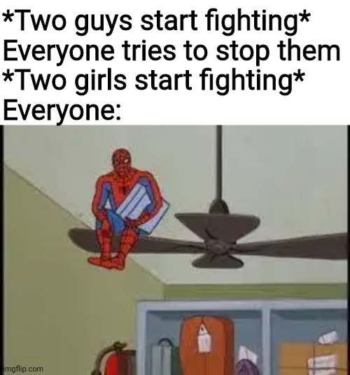 Spiderman on Fan |  *Two guys start fighting* Everyone tries to stop them *Two girls start fighting* Everyone: | image tagged in spiderman on fan,fighting,memes,boys,girls,watch | made w/ Imgflip meme maker