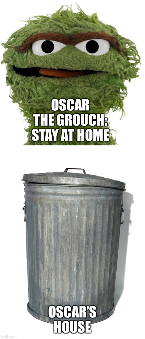 OSCAR THE GROUCH: STAY AT HOME; OSCAR'S HOUSE | image tagged in oscar the grouch | made w/ Imgflip meme maker