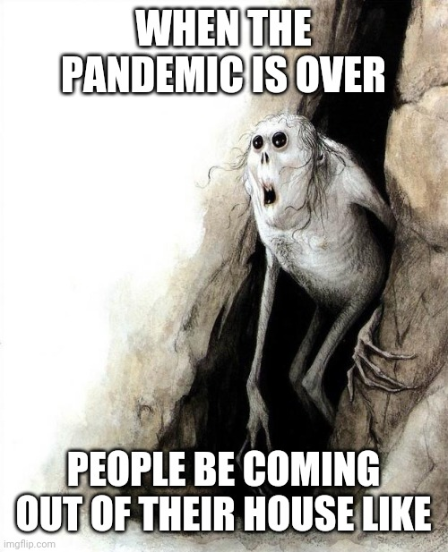 You know you'll look like this! Lol! :) |  WHEN THE PANDEMIC IS OVER; PEOPLE BE COMING OUT OF THEIR HOUSE LIKE | image tagged in cave meme,memes,funny,imgflip,coronavirus,covid-19 | made w/ Imgflip meme maker