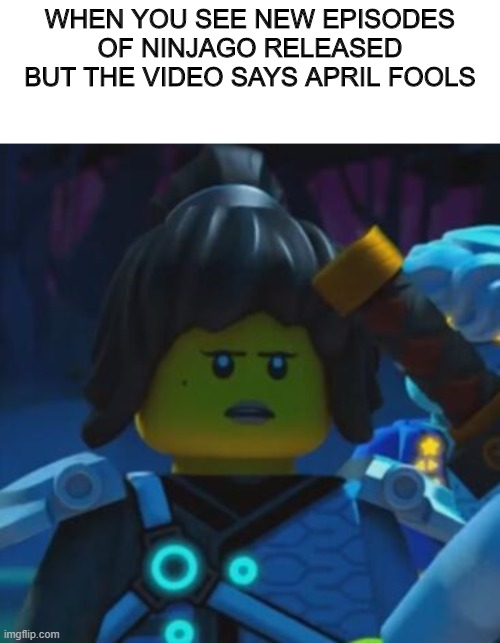 April Fool is Cruel |  WHEN YOU SEE NEW EPISODES OF NINJAGO RELEASED BUT THE VIDEO SAYS APRIL FOOLS | image tagged in blank white template,april fools,ninjago,lego,nya | made w/ Imgflip meme maker