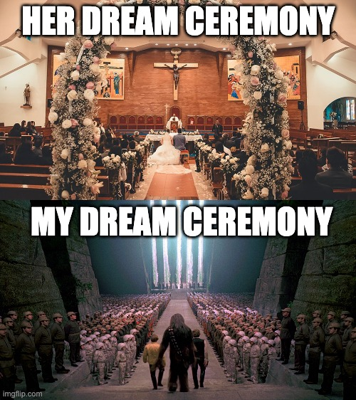 This is why nobody wants to marry me... |  HER DREAM CEREMONY; MY DREAM CEREMONY | image tagged in star wars,marriage,wedding,memes,funny,crowd | made w/ Imgflip meme maker