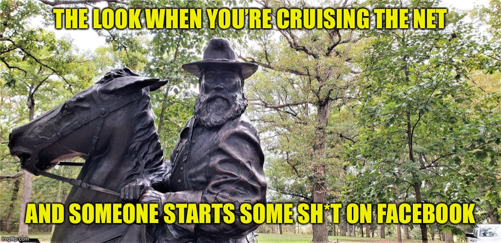 WTF? |  THE LOOK WHEN YOU'RE CRUISING THE NET; AND SOMEONE STARTS SOME SH*T ON FACEBOOK | image tagged in trouble,gettysburg,statue,facebook | made w/ Imgflip meme maker