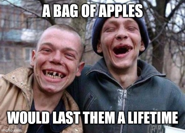 Ugly Twins |  A BAG OF APPLES; WOULD LAST THEM A LIFETIME | image tagged in memes,ugly twins | made w/ Imgflip meme maker