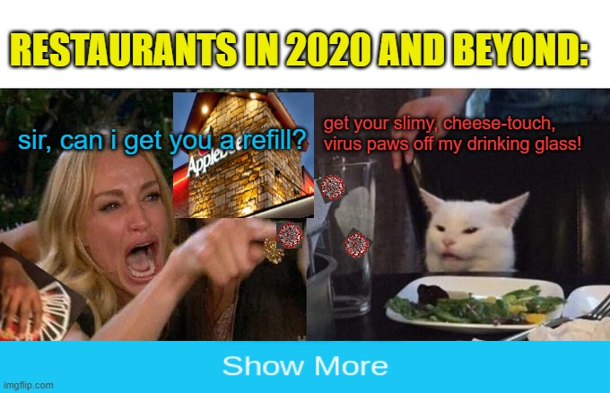 Woman Yelling At Cat | sir, can i get you a refill? get your slimy, cheese-touch, virus paws off my drinking glass! RESTAURANTS IN 2020 AND BEYOND: | image tagged in memes,woman yelling at cat,coronavirus,covid-19,hand sanitizer,restaurant | made w/ Imgflip meme maker