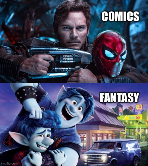 Lost in the Multiverse |  COMICS; FANTASY | image tagged in avengers infinity war,spiderman,starlord,onward,disney,pixar | made w/ Imgflip meme maker