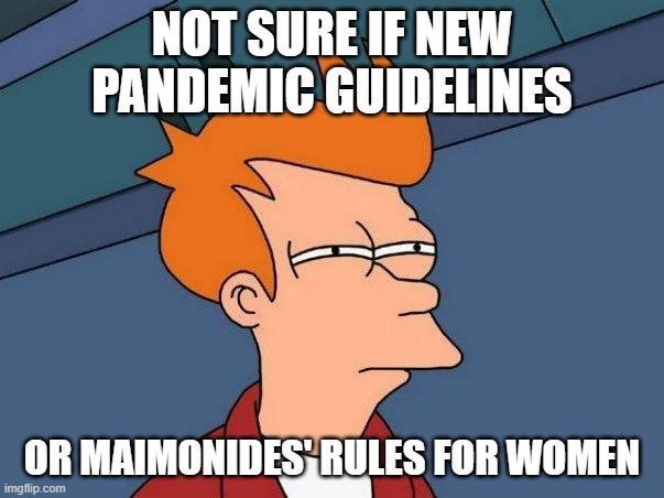 Not sure if- fry |  NOT SURE IF NEW PANDEMIC GUIDELINES; OR MAIMONIDES' RULES FOR WOMEN | image tagged in not sure if- fry | made w/ Imgflip meme maker