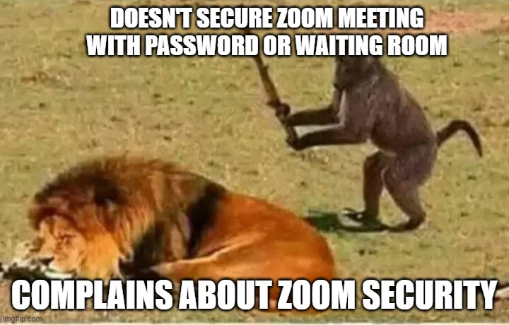 Bad Decisions |  DOESN'T SECURE ZOOM MEETING WITH PASSWORD OR WAITING ROOM; COMPLAINS ABOUT ZOOM SECURITY | image tagged in bad decisions | made w/ Imgflip meme maker