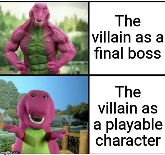 Ripped Barney |  The villain as a final boss; The villain as a playable character | image tagged in ripped barney,villain,memes,funny,character,games | made w/ Imgflip meme maker