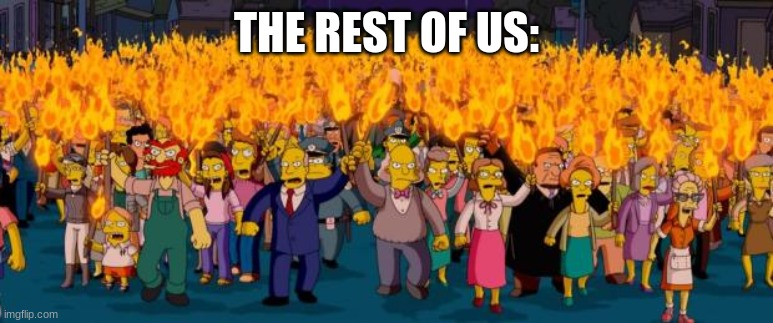 THE REST OF US: | image tagged in simpsons angry mob torches | made w/ Imgflip meme maker