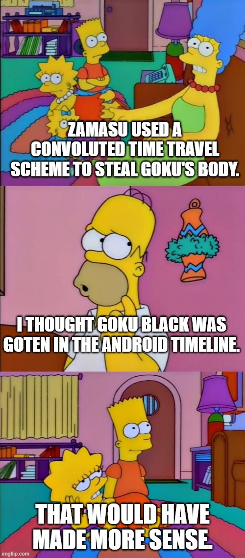 That Would Have Made More Sense |  ZAMASU USED A CONVOLUTED TIME TRAVEL SCHEME TO STEAL GOKU'S BODY. I THOUGHT GOKU BLACK WAS GOTEN IN THE ANDROID TIMELINE. THAT WOULD HAVE MADE MORE SENSE. | image tagged in that would have made more sense | made w/ Imgflip meme maker