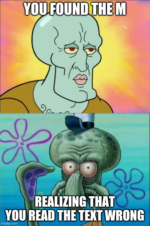 YOU FOUND THE M REALIZING THAT YOU READ THE TEXT WRONG | image tagged in memes,squidward | made w/ Imgflip meme maker