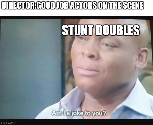 Am I a joke to you? |  DIRECTOR:GOOD JOB ACTORS ON THE SCENE; STUNT DOUBLES | image tagged in am i a joke to you | made w/ Imgflip meme maker