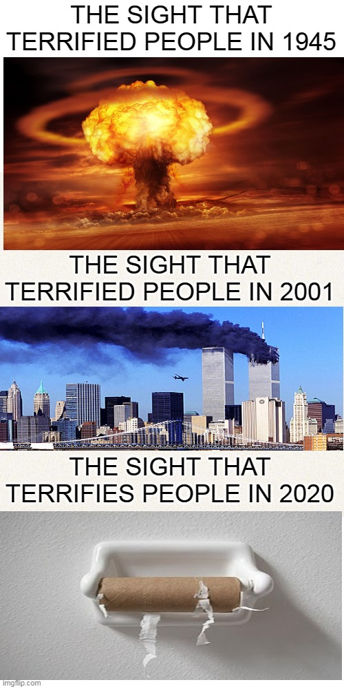 How times change |  THE SIGHT THAT TERRIFIED PEOPLE IN 1945; THE SIGHT THAT TERRIFIED PEOPLE IN 2001; THE SIGHT THAT TERRIFIES PEOPLE IN 2020 | image tagged in memes,atomic bomb,twin towers,no more toilet paper | made w/ Imgflip meme maker