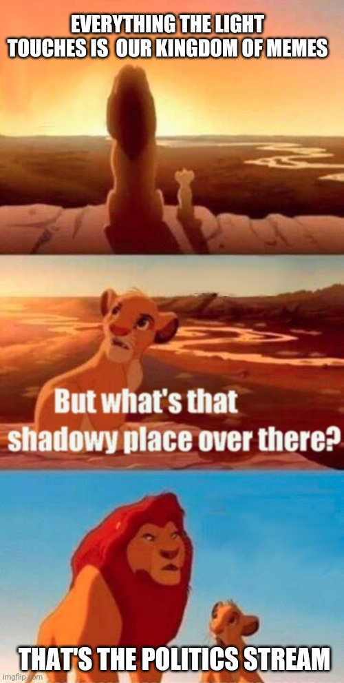 Simba Shadowy Place |  EVERYTHING THE LIGHT TOUCHES IS  OUR KINGDOM OF MEMES; THAT'S THE POLITICS STREAM | image tagged in memes,simba shadowy place,politics,streams | made w/ Imgflip meme maker