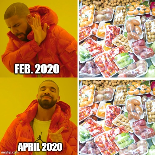 Vegetable during COVID19 |  FEB. 2020; APRIL 2020 | image tagged in covid-19,quarantine,supermarket,vegetables | made w/ Imgflip meme maker