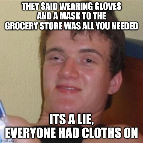 High/Drunk guy |  THEY SAID WEARING GLOVES AND A MASK TO THE GROCERY STORE WAS ALL YOU NEEDED; ITS A LIE, EVERYONE HAD CLOTHS ON | image tagged in high/drunk guy | made w/ Imgflip meme maker