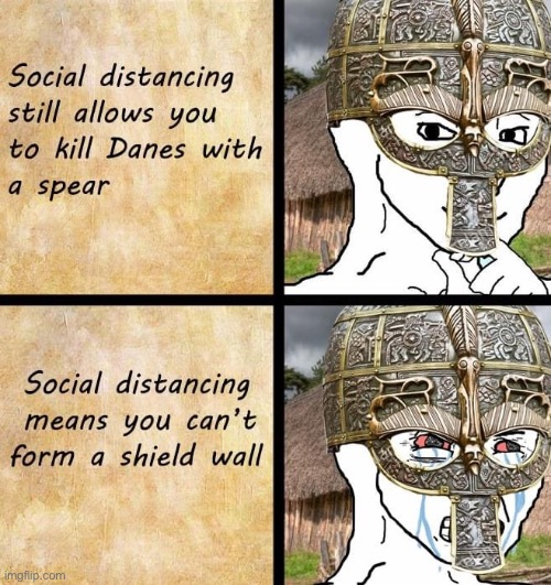 Repost lol. | image tagged in repost,history,social distancing,covid-19,coronavirus,spear | made w/ Imgflip meme maker