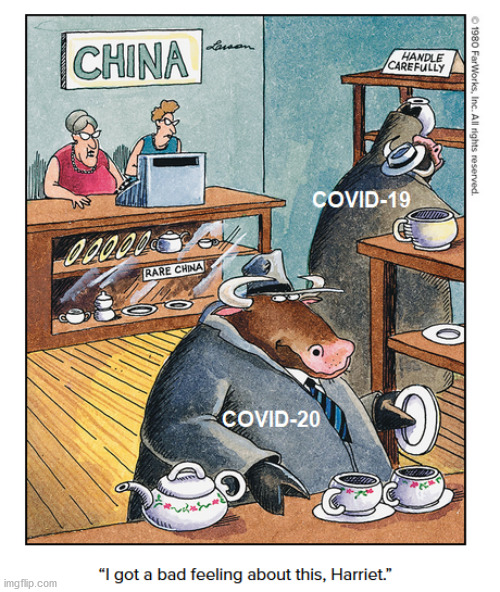 Gary saw this coming ... | image tagged in gary larson,covid-19,covid-20,china,bull | made w/ Imgflip meme maker