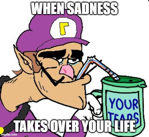 sad |  WHEN SADNESS; TAKES OVER YOUR LIFE | image tagged in waluigi drinking tears | made w/ Imgflip meme maker