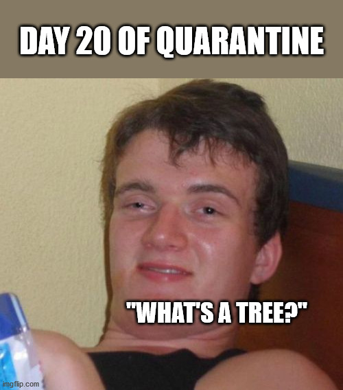 "10 Guy |  DAY 20 OF QUARANTINE; ""WHAT'S A TREE?"" 