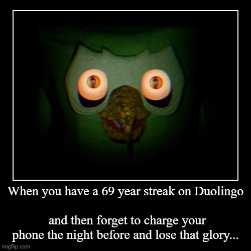 When you have a 69 year streak on Duolingo | and then forget to charge your phone the night before and lose that glory... | image tagged in funny,demotivationals | made w/ Imgflip demotivational maker