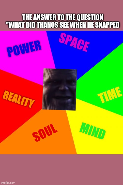 "Blank Colored Background |  THE ANSWER TO THE QUESTION ""WHAT DID THANOS SEE WHEN HE SNAPPED; SPACE; POWER; TIME; REALITY; SOUL; MIND 