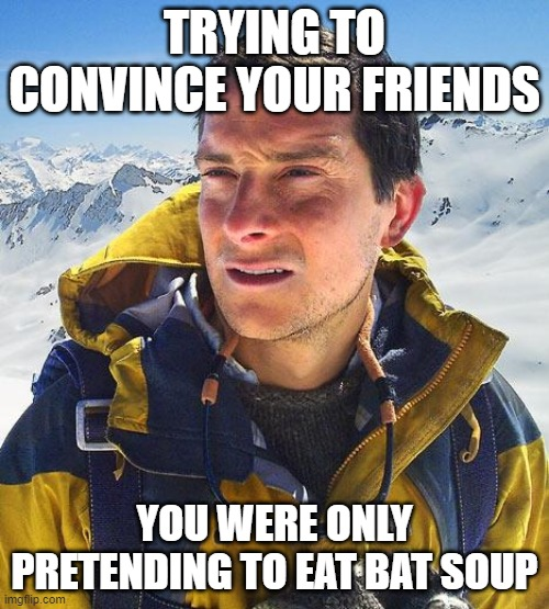 Bear Grylls |  TRYING TO CONVINCE YOUR FRIENDS; YOU WERE ONLY PRETENDING TO EAT BAT SOUP | image tagged in memes,bear grylls | made w/ Imgflip meme maker