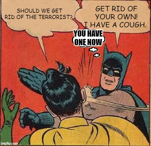 When Batman Has Corona | SHOULD WE GET RID OF THE TERRORIST? GET RID OF YOUR OWN! I HAVE A COUGH. YOU HAVE ONE NOW | image tagged in memes,batman slapping robin,funny,corona,terrorist,batman | made w/ Imgflip meme maker