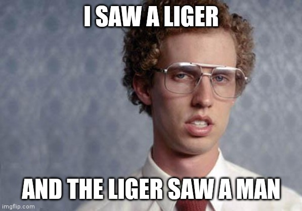 Napoleon Dynamite | I SAW A LIGER AND THE LIGER SAW A MAN | image tagged in napoleon dynamite | made w/ Imgflip meme maker