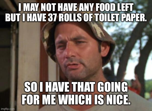 So I Got That Goin For Me Which Is Nice |  I MAY NOT HAVE ANY FOOD LEFT BUT I HAVE 37 ROLLS OF TOILET PAPER. SO I HAVE THAT GOING FOR ME WHICH IS NICE. | image tagged in memes,so i got that goin for me which is nice | made w/ Imgflip meme maker