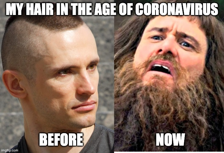 Coronavirus Hair | MY HAIR IN THE AGE OF CORONAVIRUS BEFORE                           NOW | image tagged in coronavirus,hair,badass,desperate,before and after | made w/ Imgflip meme maker