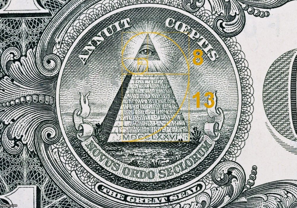 The Great Seal on the one dollar bill and the Golden Ratio. | image tagged in the golden ratio,eye,providence,numbers,symbolism | made w/ Imgflip meme maker