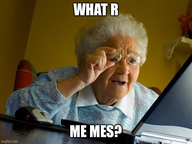 Grandma Finds The Internet Meme |  WHAT R; ME MES? | image tagged in memes,grandma finds the internet | made w/ Imgflip meme maker