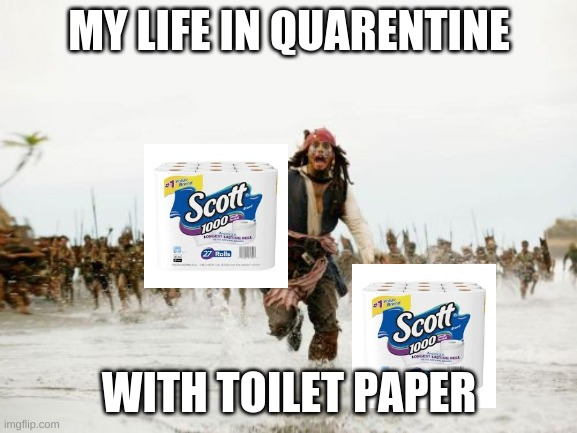 Jack Sparrow Being Chased | MY LIFE IN QUARENTINE WITH TOILET PAPER | image tagged in memes,jack sparrow being chased | made w/ Imgflip meme maker