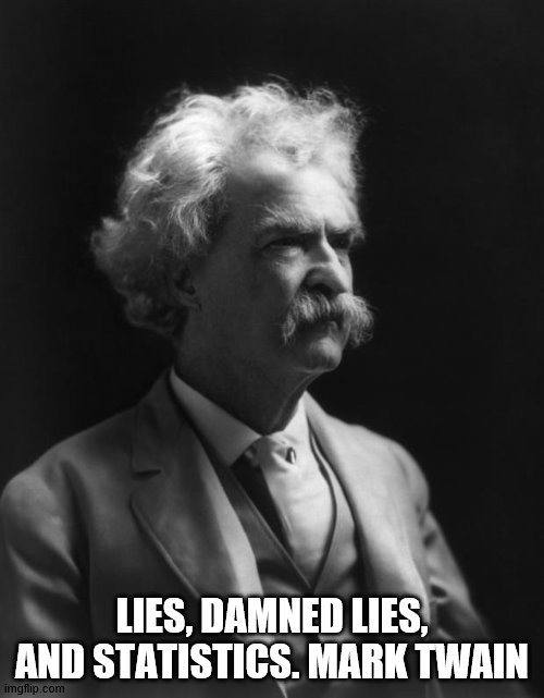 Mark Twain Thought |  LIES, DAMNED LIES, AND STATISTICS. MARK TWAIN | image tagged in mark twain thought | made w/ Imgflip meme maker