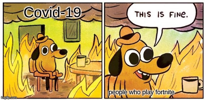 This Is Fine Meme |  Covid-19; people who play fortnite | image tagged in memes,this is fine | made w/ Imgflip meme maker