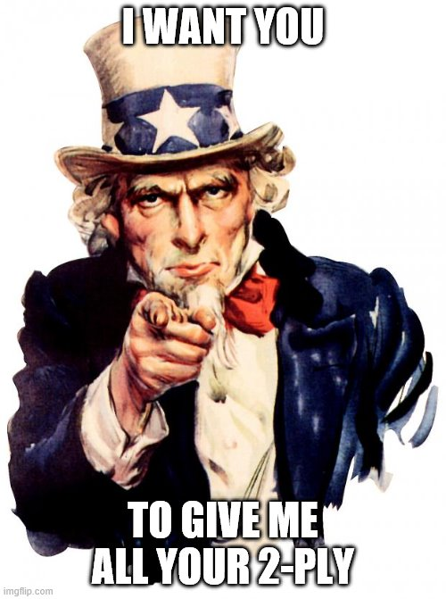 Uncle Sam |  I WANT YOU; TO GIVE ME ALL YOUR 2-PLY | image tagged in memes,uncle sam | made w/ Imgflip meme maker