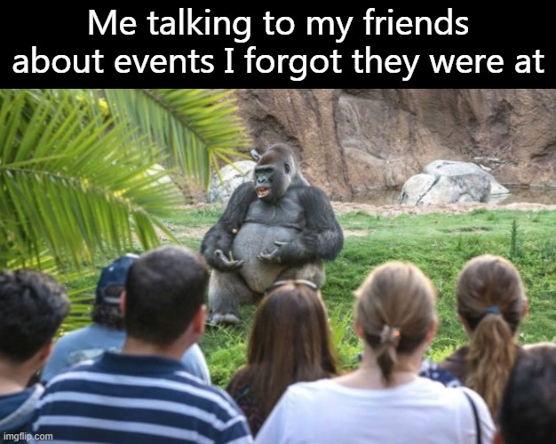 It was frick'in Biblical, mate. |  Me talking to my friends about events I forgot they were at | image tagged in ted talk gorilla,harambe | made w/ Imgflip meme maker