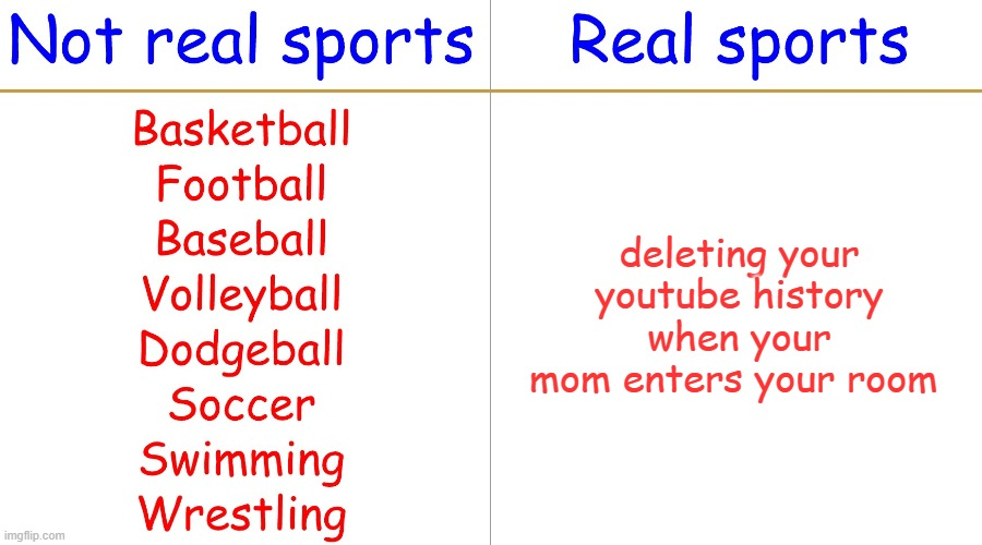 Real sports |  deleting your youtube history when your mom enters your room | image tagged in real sports,fun,memes,sports | made w/ Imgflip meme maker