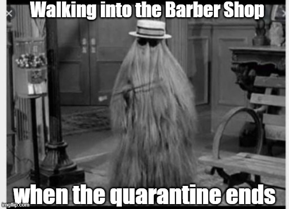 Your hair still grows in a quarantine | Walking into the Barber Shop when the quarantine ends | image tagged in haircut,quarantine | made w/ Imgflip meme maker