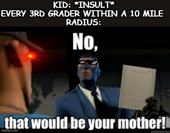 Every 3rd Grader Ever |  KID: *INSULT* EVERY 3RD GRADER WITHIN A 10 MILE  RADIUS: | image tagged in roasted,your mom,tf2,pro gamer move | made w/ Imgflip meme maker